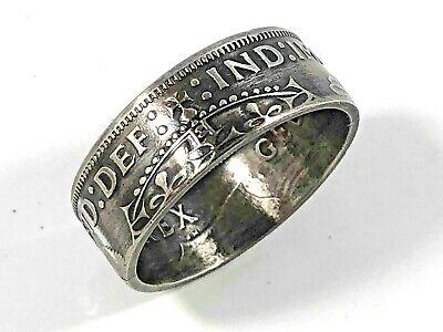 Size 8-13 British Two Shilling Coin Ring - Hand Made