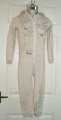 GIRLS ALL-IN-ONE / PLAYSUIT - GREY MARL - HOODED - BUTTERFLY GEORGE - AGE 4-5yr