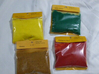 Minglo Suede Flocking Powder Lot of 4 Bags Yellow Red Green Henna