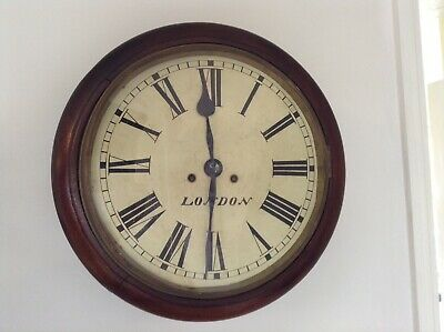 "Antique Mahogany School / Railway Wall Clock London 12"" Dial Rare Collectable"