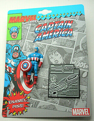 Marvel Comic Captain America Superheros Action Figure Collector Pin Set New MOC