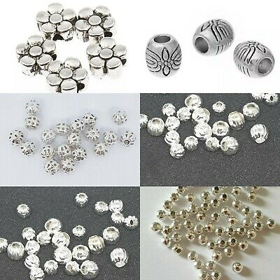 100 psc Silver Spacer Beads For Jewellery Making Different Styles ,