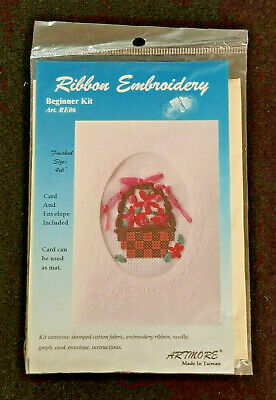 Artmore: Ribbon Embroidery Beginner Kit: Flower Basket - Stitch-a-Card - NEW