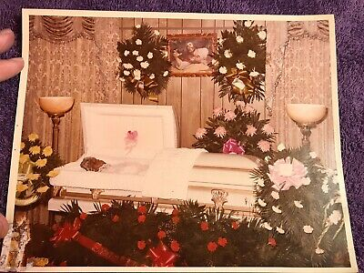 Vintage Postmortem Photo African American Lady In Casket Funeral Home Mortuary