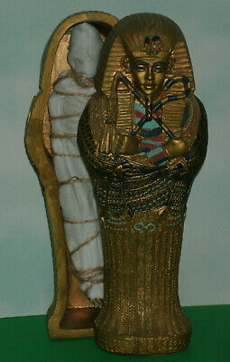 "1/12 Scale Egyptian King Tut Sarcophagus Coffin Model 7"" Tomb Statue Decoration"