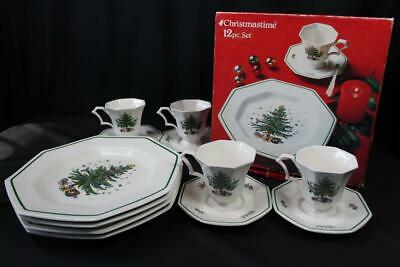 12pc Nikko Christmastime Christmas Tree 4ea Dinner Plates Cups Saucers Octagon