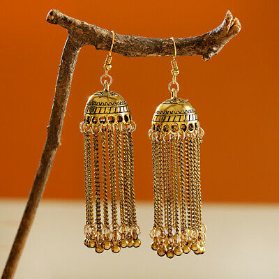 Women Vintage Bohemia Jhumka Long Tassel Gypsy Carved Indian Earrings Jewelry