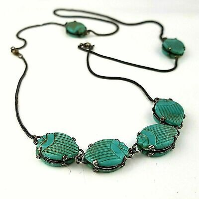 Antique Egyptian Revival Scarab Turquoise Glass Necklace Neiger Czech Glass Bead