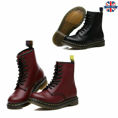 Dr Mart Boots Womens Mens Real Leather Classic Ankle Combat Boots Shoes Flat New