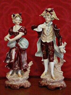A Pair of Antique German Porcelain Figurines, 19th Century