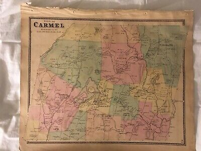 Town of Carmel 1867 Lithograph by F.W. Beers