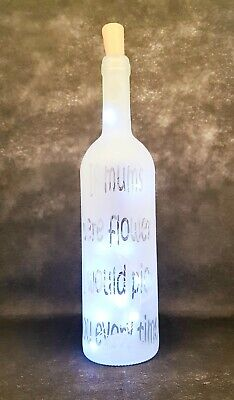 Frosted Decorative Wine Bottle with a Mum Themed design & Battery LED's