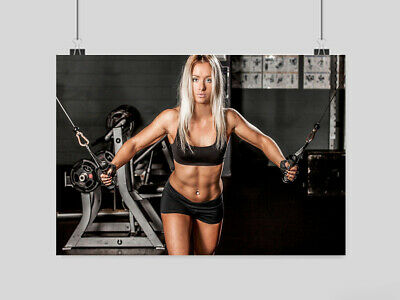 Sexy Hot Girl Fitness Poster Gym Workout Weights Weightlifting -A3 A4 Size