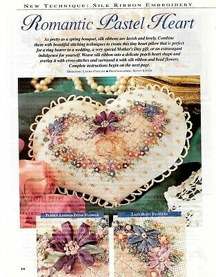 Silk Ribbon Embroidery - Romantic Pastel Heart Pattern - NEW