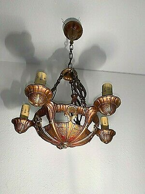 1930s Art Deco Lincoln 5 Light Cast Metal Fixture,Chandelier