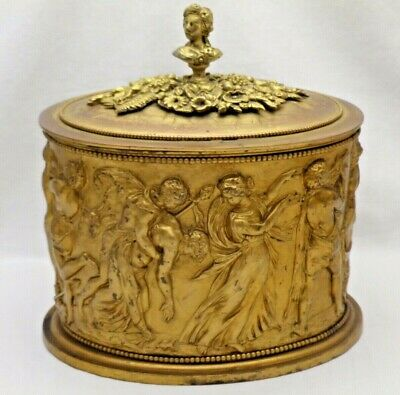 Antique Victorian Oval Gilded Brass Biscuit Box Cookie Jar with Nymphs & Satrs