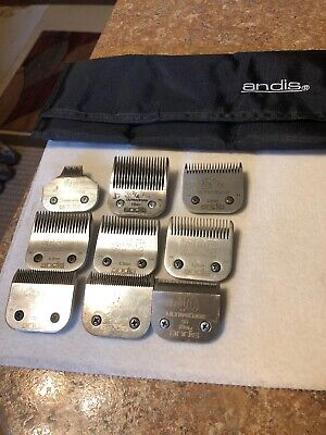 Set Of 9 Andis Dog Pet Grooming Blades And Case Ultraedge 40 10 15 4f 5f 7f 5/8