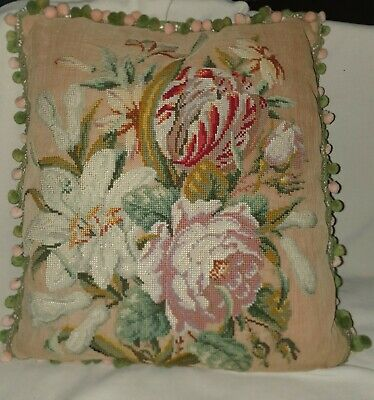 Beautiful victorian antique needlework  cushion pale muted colours perfect
