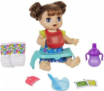 Baby Alive Happy Hungry Brown Straight Hair Doll, Makes 50+ Sounds &...
