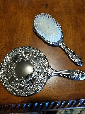 Vintage Hand Mirror, Brush & Comb Vanity Set , Silver plated