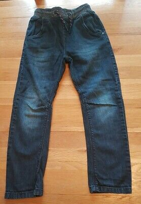 Boys dark blue jeans elastic waist, pull string and pockets age 6 trousers next