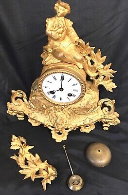 Antique French Gilded Spelterl Clock By chestier fabt a paris