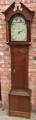 Antique Rare Architectural Top Longcase Grandfather Arched Dial 30 Hour