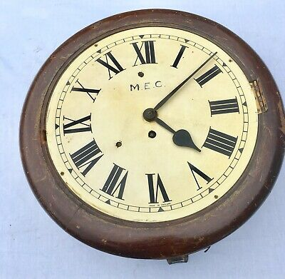 "Antique 12"" Fusee Mahogany Wall Clock B. R . S . ?"