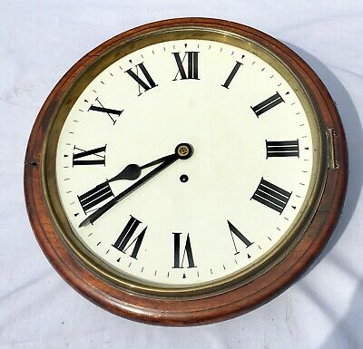 "Antique 12"" Fusee Mahogany Wall Clock  Dial And Surround"