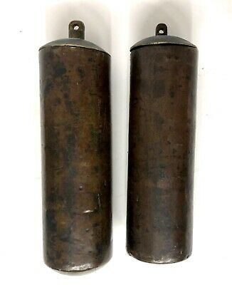 Wonderful Pair Antique Longcase Grandfather Clock Brass Cased Weights