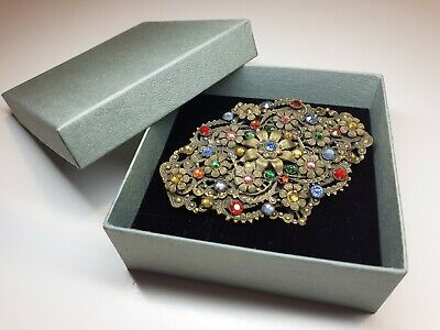 Vintage Art Deco Czech Glass Paste Filigree Brooch Large