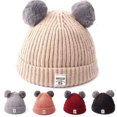 Kids Children Knitted Cuffed Beanie Hat Cap Winter Worm Girls Boys 2 Pom Pom Hat