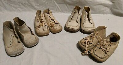 Lot Of 4 Vintage Antique Old White Original Baby Shoes Buster Brown