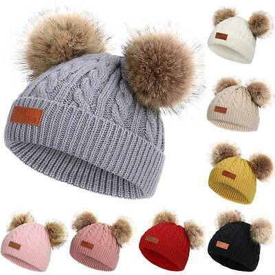 Kids Children Knitted Cable Beanie Hat Hats Cap Winter Worm Girls Boys 2 Pom Pom