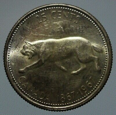 Canada 1967 80% silver lynx quarter. These 25 cent coins have been circulated