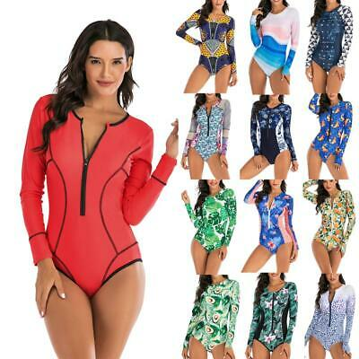Women One Piece Swimsuit Long Sleeve Rash Guard Bathing Suit Surfing Swimwear