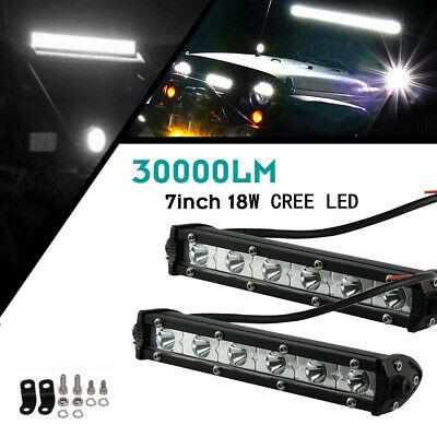 "2× 7""INCH 6500K LED Work Light Bar Flood Combo Pods Driving Off-Road Tractor 4WD"