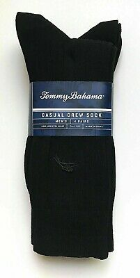 Tommy Bahama Mens All Black Men's Casual Crew Sock (4 Pack)