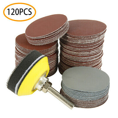 2 inch 120PCS Sanding Discs Pad Kit for Drill Grinder Rotary Tools + Backing Pad