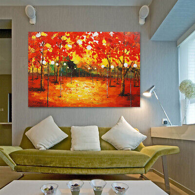Modern Abstract Hand Painted Canvas Oil Painting Home Decor Framed Maple Forest