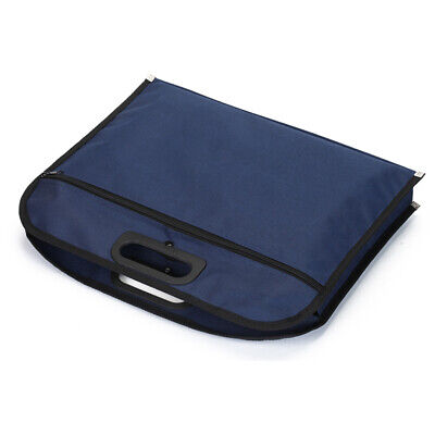 Business Zipper Closure Blue File Bag Document Holder With Handle Oxford Cloth