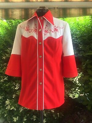 Vintage Retro Unique Western Embroidered Nylon Knit Red White Shirt