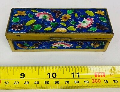 Vintage Antique China Chinese Cloisonné Enamel Enameled Brass Trinket Stamp Box