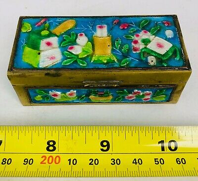 Vintage Antique China Chinese Cloisonné Enameled Brass Trinket Stamp Box #2