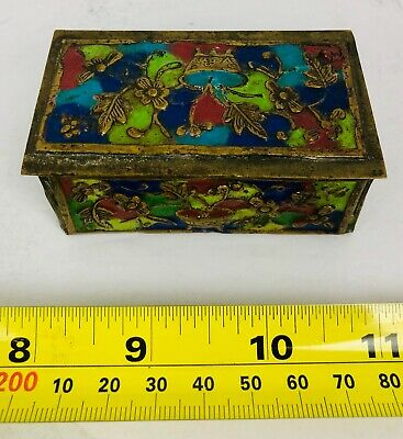 Vintage Antique China Chinese Cloisonné Enameled Brass Trinket Stamp Box #3