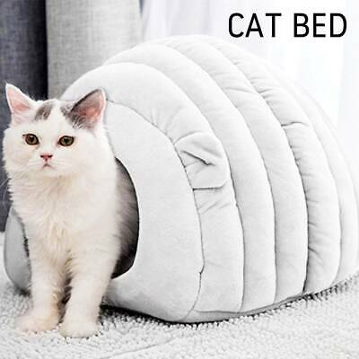 Gray Warm Igloo Cat Pet Dog Bed Calming Comfy Large Kitten Puppy Cotton Winter
