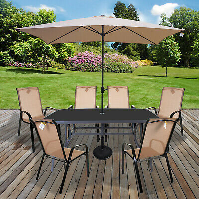 Table & Chairs Set Outdoor Garden Patio Cream Furniture Glass Table Parasol Base
