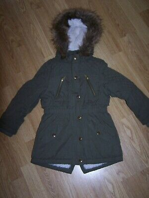 Girls Green Parka  Hooded Jacket Age 5 6 Years