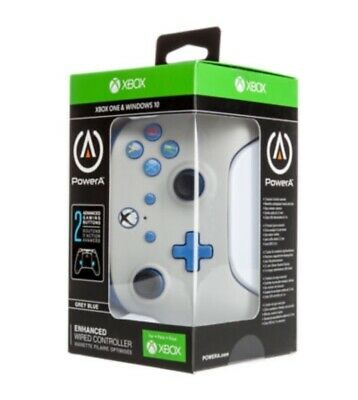 PowerA Enhanced Wired Controller for Xbox One/Windows 10 (GREY & Blue) — NEW