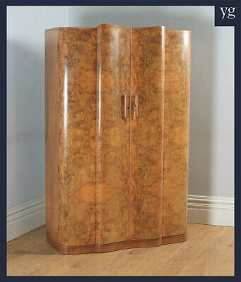 Antique English Art Deco Burr Walnut Two Door Serpentine Wardrobe (Circa 1930)